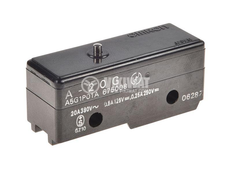 Limit Switch, A20G, SPDT-NO+NC, 20A/380VAC, pusher - 1