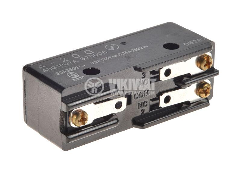 Краен изключвател, A20G, SPDT-NO+NC, 20A/380VAC, щифт - 2