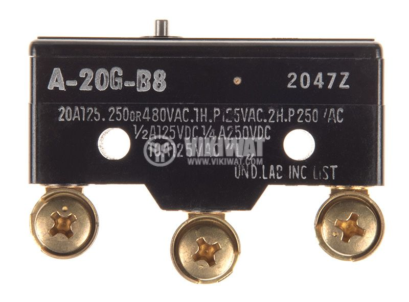 Limit Switch, AG-20G-B8, SPDT-NO+NC, 20A/380VAC, pusher - 3