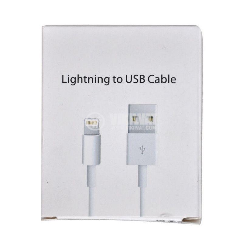 Кабел за iphone 5, 6, 7, USB A/m lighting - USB A/m, 1m, бял - 2