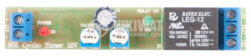 Цикличен таймер 555, 12V, 240V/7A - 1