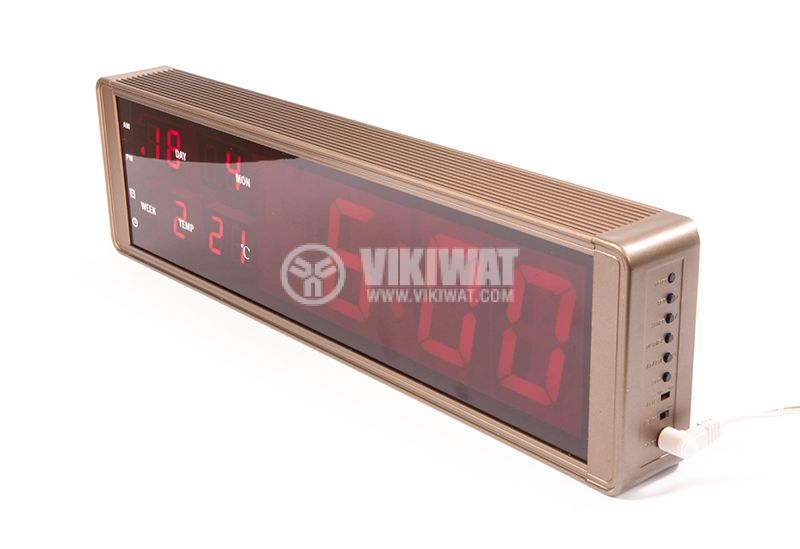 ZXTL-13L clock, with LED digital display, wall mounting, display color red, thermometer, indicator of date, day, year, month - 2