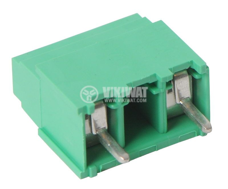 Terminal for PCB, 10 mm,1.5 mm2, 2 pin,17.5 A, vertical mount, green, screw clamp - 1