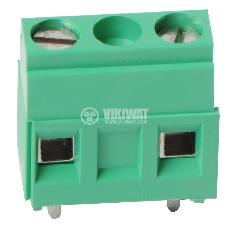 Terminal for PCB, 10 mm,1.5 mm2, 2 pin,17.5 A, vertical mount, green, screw clamp - 2