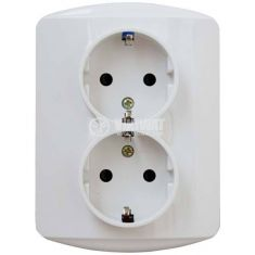 Двоен електрически контакт, монофазен, 250 VAC, 16 A, бял, IP20