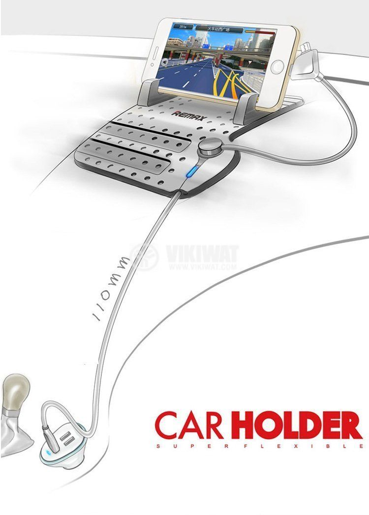 Remax RM-CS101 Super Flexible Car Holder with Charging Output for Dashboard   - 7
