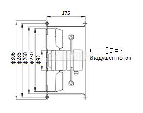 Axial Duct Fan , VL-2E-250, Ф250mm, 220VAC, 130W, 1850m3/h - 3