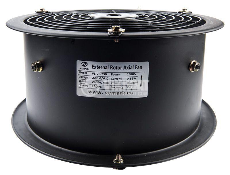 Axial Duct Fan , VL-2E-250, Ф250mm, 220VAC, 130W, 1850m3/h - 4