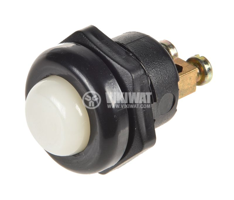 Button switch, push button, OFF - (ON), hole 22mm, 10A / 250VAC, SPST - 1