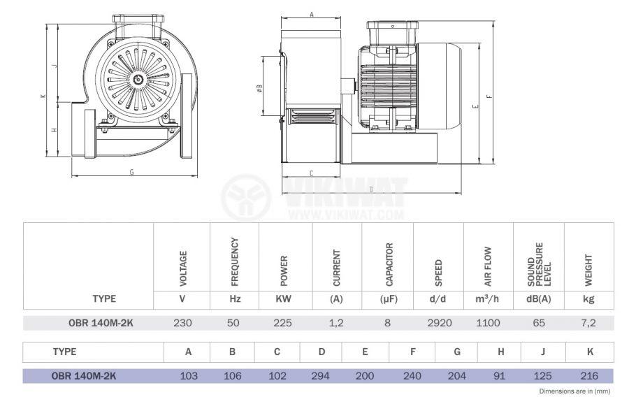 "Вентилатор, промишлен OBR 140M-2K, 230VAC, 225W, 1100m3/h, тип ""охлюв"" с изнесена турбина - 2"
