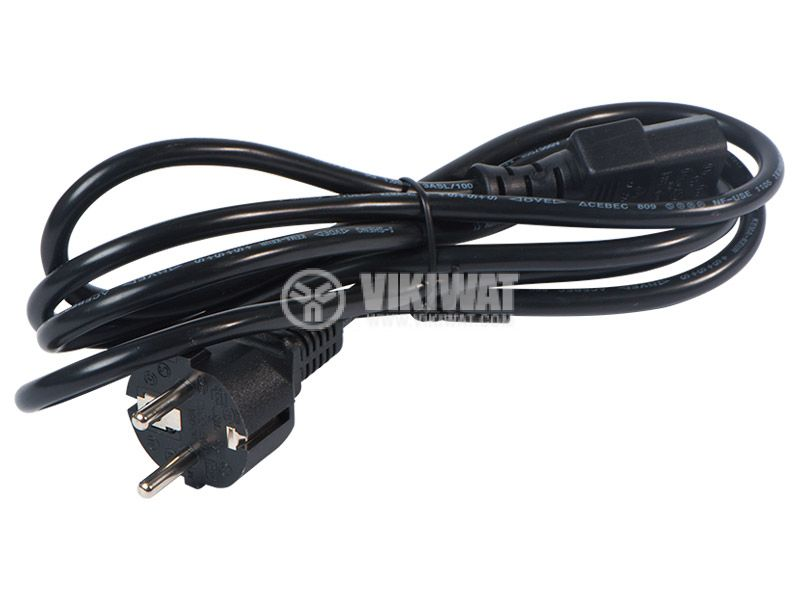 Power cord for PC, black, 3X1.0 mm2, 17А, 2 m - 1