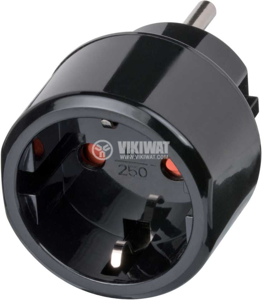 Travel Adapter, Brennenstuhl, transient from schuko EU socket to 3-pin US plug  - 1