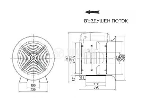 Fan, industrial, axial Ф250mm, 220VAC, 130W, 1850m3 / h, VP-2E-250 - 2