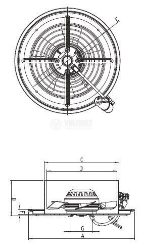 Вентилатор, промишлен, аксиален, BDRAX 250-2K, ф250mm, 230VAC, 110W, 1500m3/h - 4