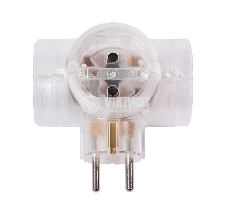 3-way power plug, LEGRAND, 50662, 1 schuko to 3 schuko, 16A, 230VAC, 3680W, transparent - 4