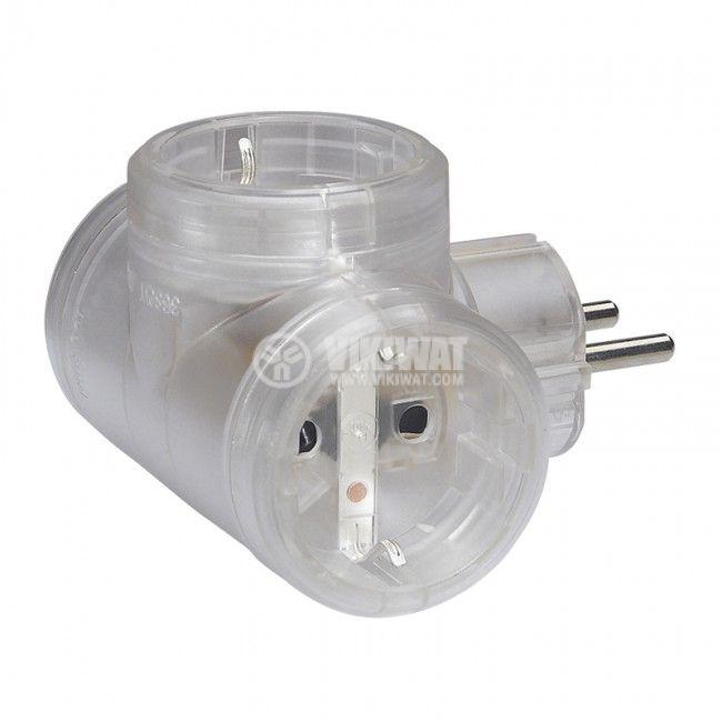 3-way power plug, LEGRAND, 50663, 1 schuko to 3 schuko, 16A, 230VAC, 3680W, transparent - 1