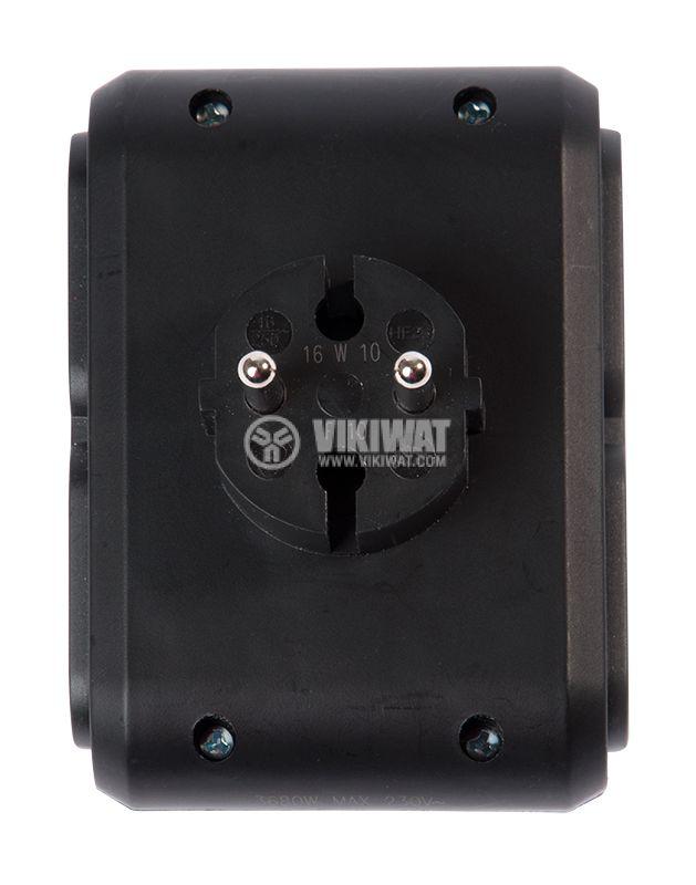 Разклонител за контакт, LEGRAND, 50651, 1 шуко към 4 двуполюсни, 6A, 230VAC, плосък, черен - 4