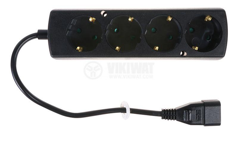 Разклонител 4-ка шуко с кабел 0.3m и букса IEC C14 - 1