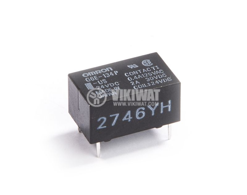 Електромагнитно реле, 0.4A, 125VAC, 2A, 30VDC, NO+NC, бобина 24VDC - 1