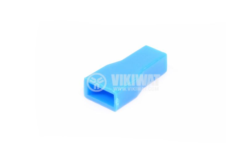 Маншон за контактен накрайник, 6.3 х 0.8 mm, син