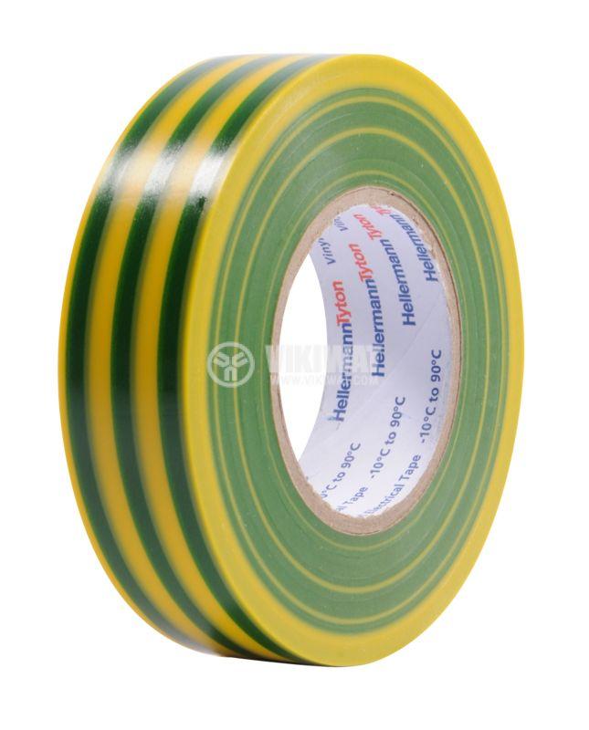PVC изолационна лента, изолирбанд, HTAPE-FLEX15YE, 19mm x 20m, жълто-зелена - 1