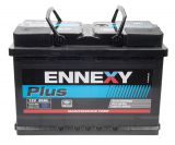 Car battery, 80Ah, starter, 12VDC, right +, ENNEXY Plus
