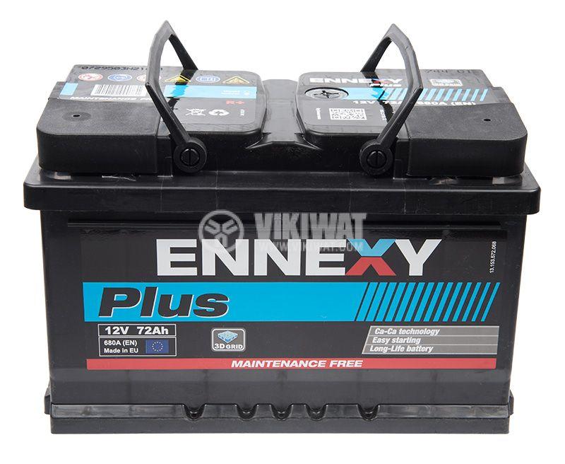 Car battery, 72Ah, starter, 12VDC, right +, ENNEXY Plus - 1