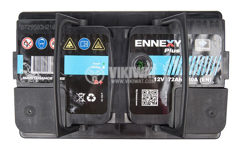Car battery, 72Ah, starter, 12VDC, right +, ENNEXY Plus - 2