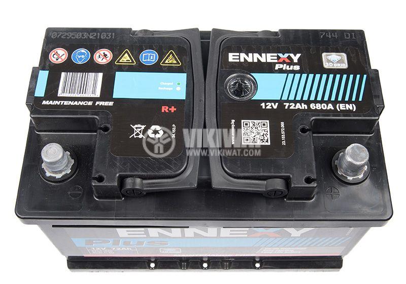 Car battery, 72Ah, starter, 12VDC, right +, ENNEXY Plus - 3