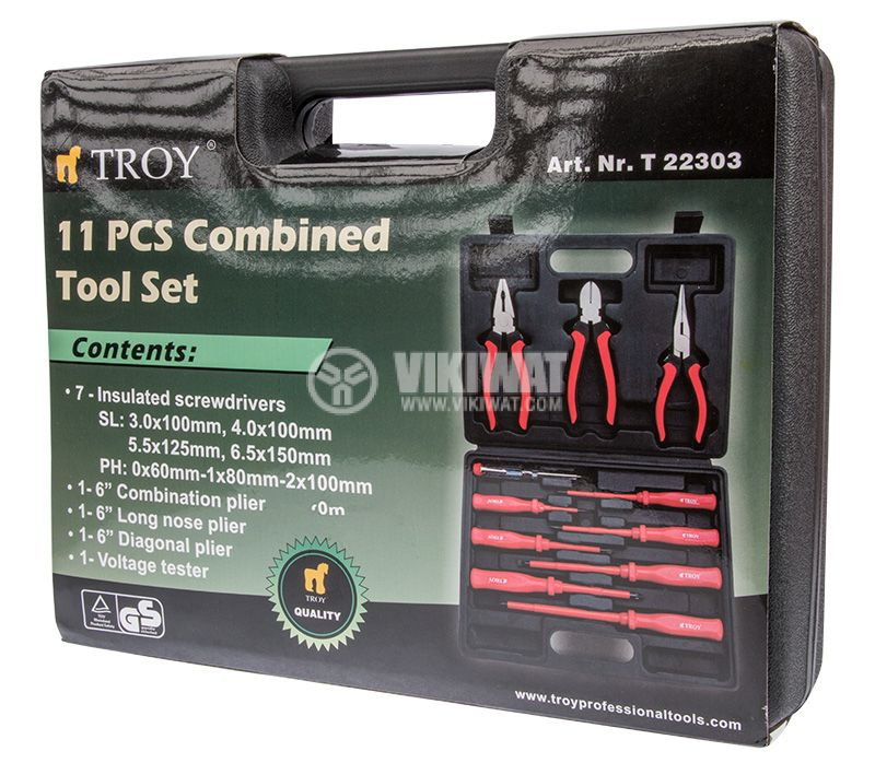 Tool set T 22303, 7 screwdrivers, 3 pliers, phase tester - 1