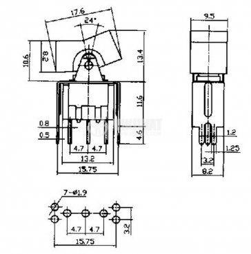 Клавишен превключвател rocker RLS-103-A2T, 3 A/250 VAC ,6 A/125 VAC, ON-OFF-ON, SPDT червен - 4