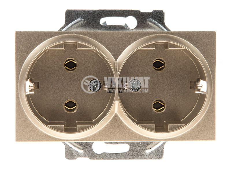 Double socket, 2P+E, Karre Plus, Panasonic, 16A, 250VAC, bronze, built-in, schuko, WKTT0205-2BR, mechanism+cover plate - 1