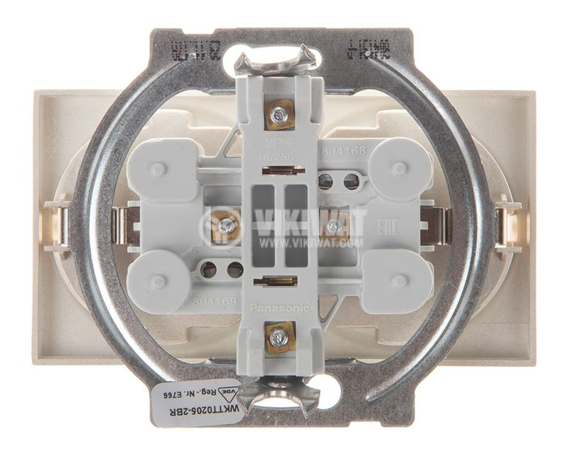 Double socket, 2P+E, Karre Plus, Panasonic, 16A, 250VAC, bronze, built-in, schuko, WKTT0205-2BR, mechanism+cover plate - 3
