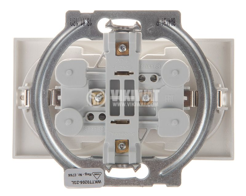 Double socket, 2P+E, Karre Plus, Panasonic, 16A, 250VAC, silver, built-in, schuko, WKTT0205-2SL, mechanism+cover plate - 3