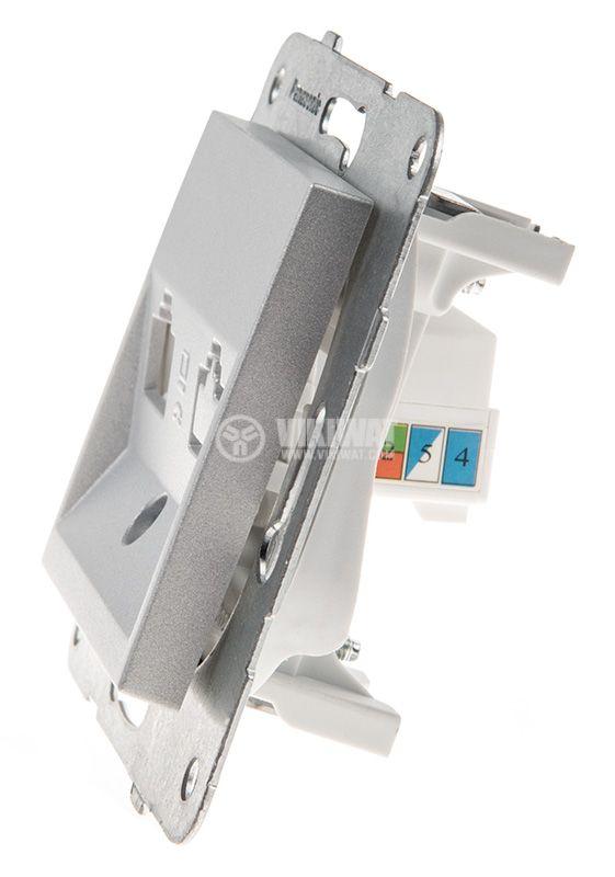 Telephone and Data socket, single RJ45 Cat5e, silver, WKTT0404-2SL, mechanism+rocker - 2