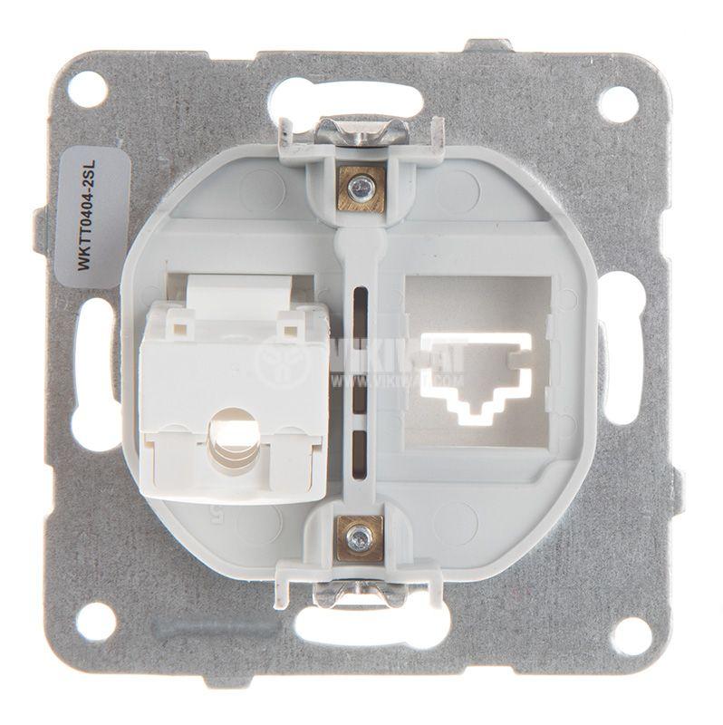 Telephone and Data socket, single RJ45 Cat5e, silver, WKTT0404-2SL, mechanism+rocker - 3