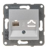 Telephone and Data socket, single RJ45 Cat5e, silver, WKTT0404-2SL, mechanism+rocker