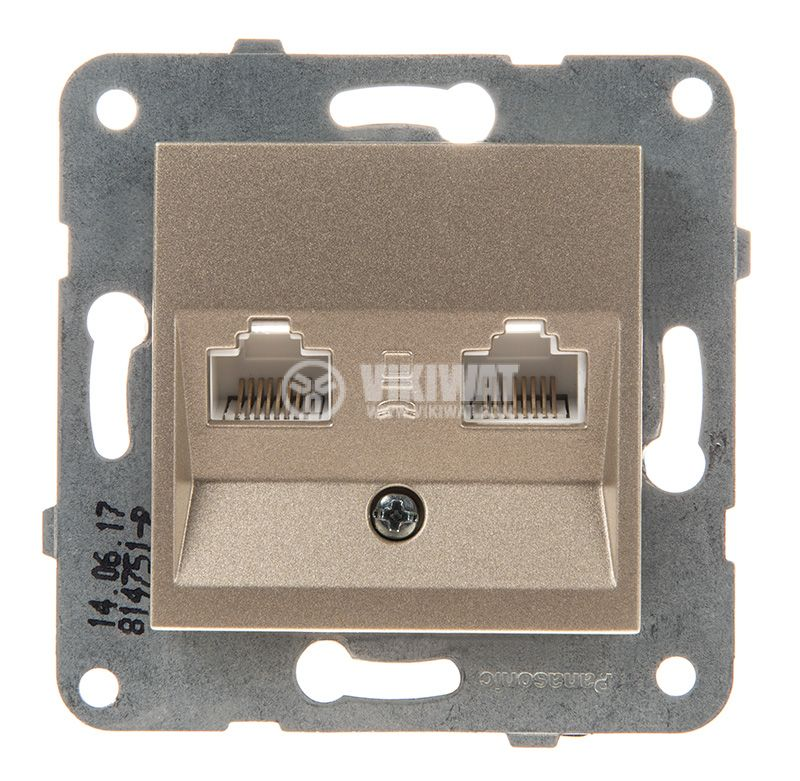 Telephone and Data socket, double RJ45 Cat5e, bronze, WKTT0406-2BR, mechanism+cover plate - 1