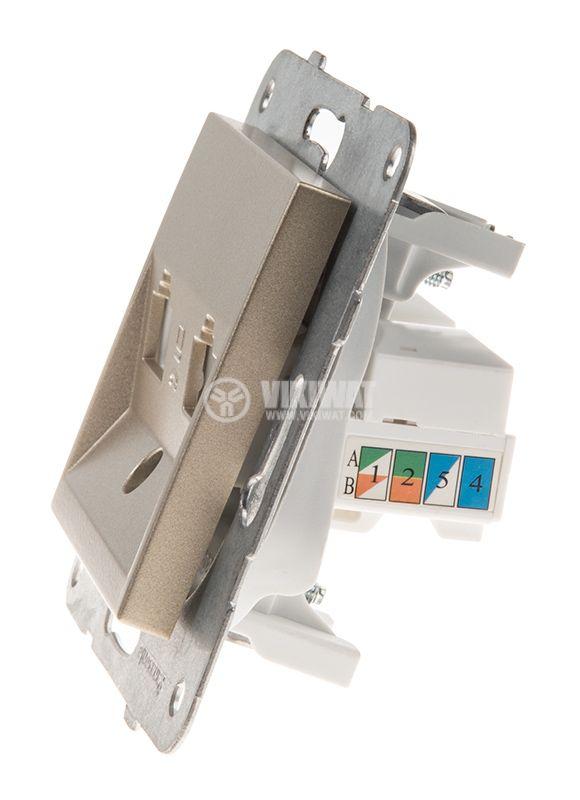 Telephone and Data socket, double RJ45 Cat5e, bronze, WKTT0406-2BR, mechanism+cover plate - 2