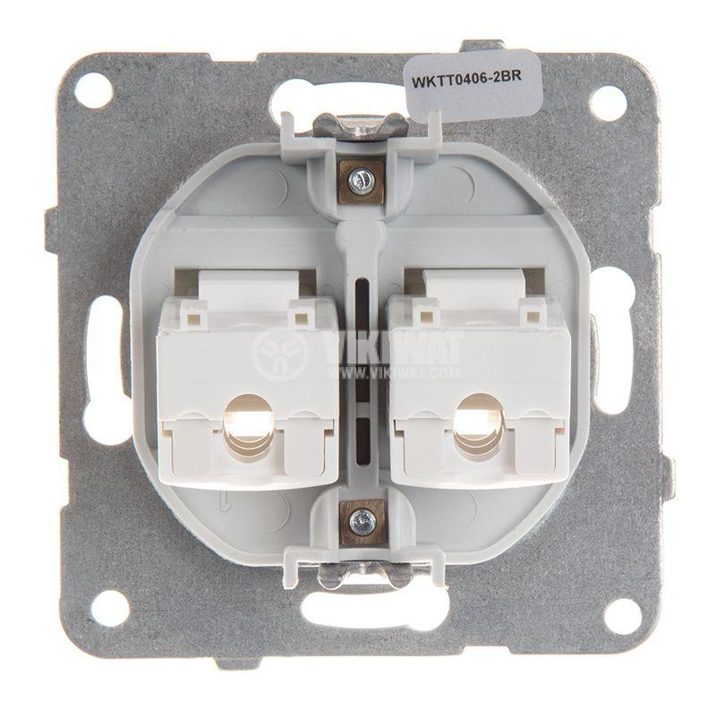 Telephone and Data socket, double RJ45 Cat5e, bronze, WKTT0406-2BR, mechanism+cover plate - 3