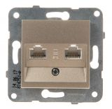 Telephone and Data socket, double RJ45 Cat5e, bronze, WKTT0406-2BR, mechanism+cover plate