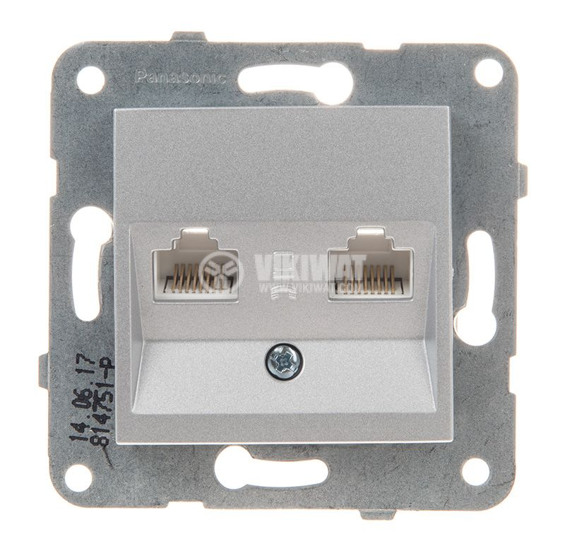 Telephone and Data socket, double RJ45 Cat5e, silver, WKTT0406-2SL, mechanism+cover plate - 1