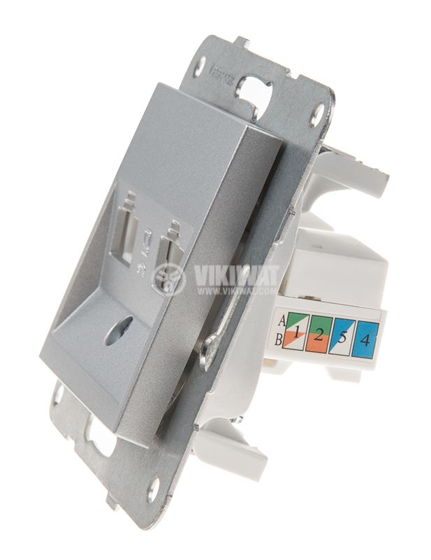 Telephone and Data socket, double RJ45 Cat5e, silver, WKTT0406-2SL, mechanism+cover plate - 2