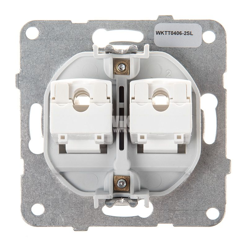 Telephone and Data socket, double RJ45 Cat5e, silver, WKTT0406-2SL, mechanism+cover plate - 3