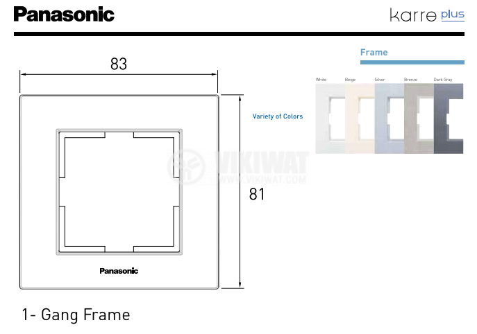 Single frame, Karre Plus, Panasonic, 81x83mm, silver, WKTF0801-2SL - 3