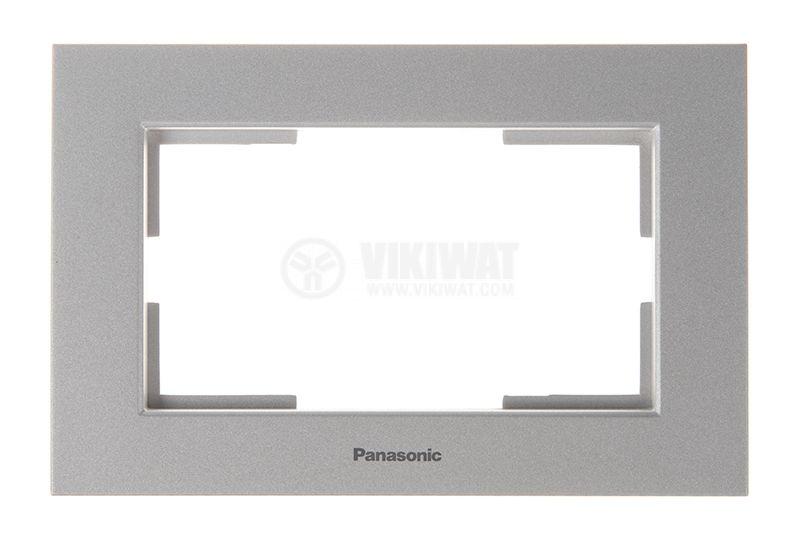 Рамка, Karre Plus, Panasonic, за двоен контакт, светлосива (сребриста), WKTF0809-2SL - 1