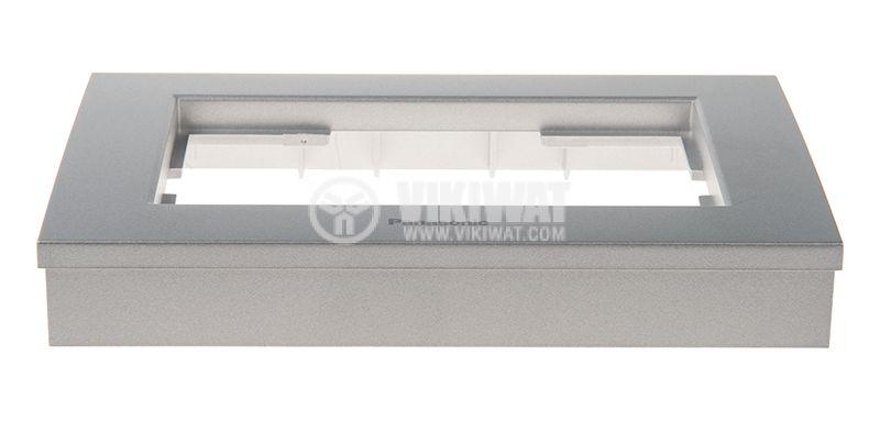 Рамка, Karre Plus, Panasonic, за двоен контакт, светлосива (сребриста), WKTF0809-2SL - 2