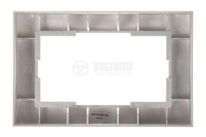Рамка, Karre Plus, Panasonic, за двоен контакт, светлосива (сребриста), WKTF0809-2SL - 3