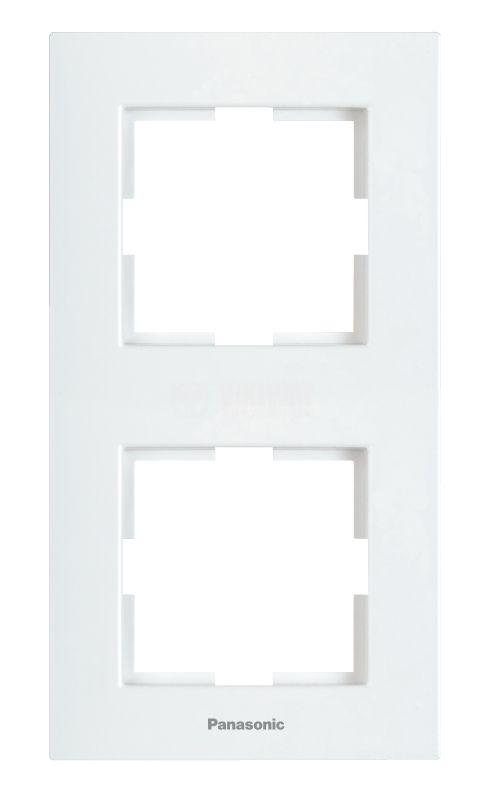 Double frame, Panasonic, vertical, 81x154mm, white, WKTF0812-2WH