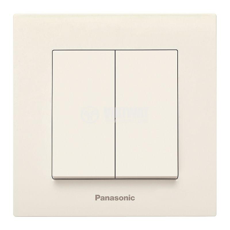 2-gang one-way switch, complete, Karre Plus, Panasonic, 10A, 250VAC, beige, WKTC0009-2BG - 1